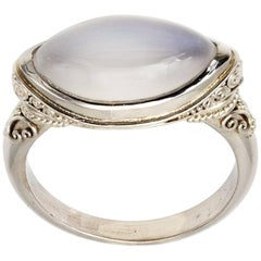 Marquise Moonstone and Granular White Gold Ring