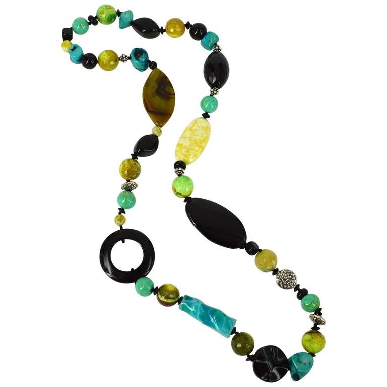 Jade Agate Coral Onyx Silver Necklace