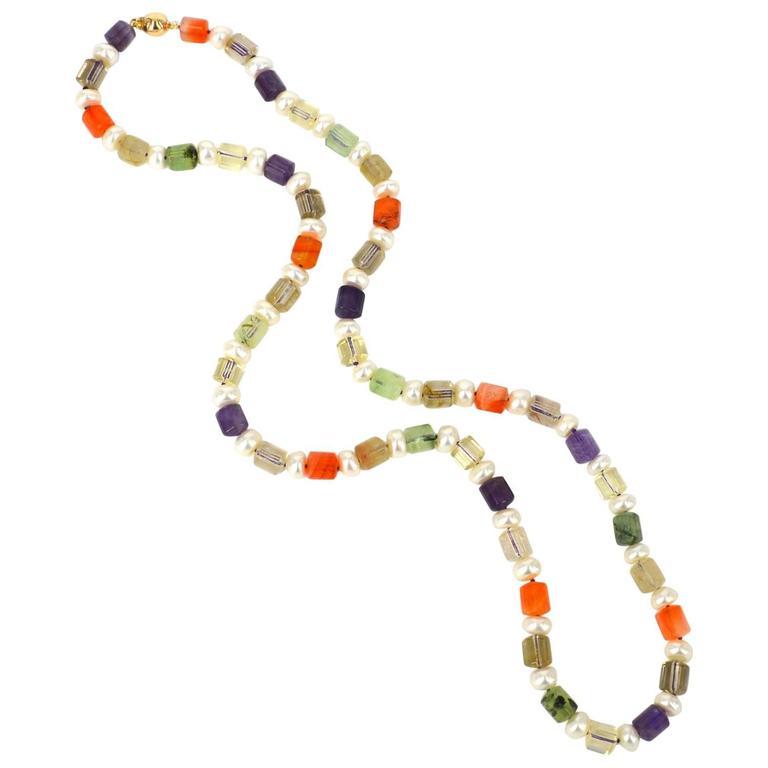 Amethyst Carnelian Prehnite Citrine Rutile Quartz Button Pearl Gold Necklace