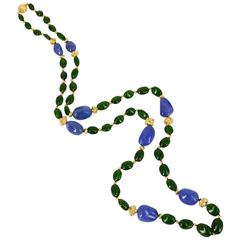 Chrome Diopside Tanzanite Gold Necklace