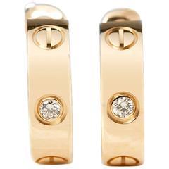 Cartier Diamond Yellow Gold Love Earrings