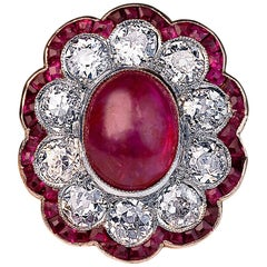 Edwardian Unheated Burma Ruby Diamond Gold Platinum Engagement Ring