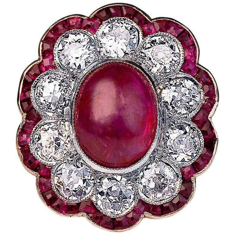 Edwardian Unheated Burma Ruby Diamond Gold Platinum Engagement Ring For Sale
