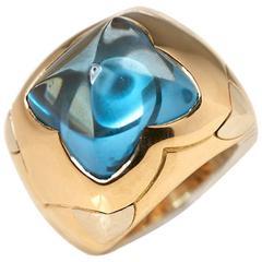Bulgari Blue Topaz Yellow Gold Pirmide Ring