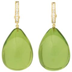 Bold Green Amber Drop Earrings