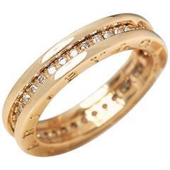 Bulgari 18 Karat Yellow Gold Round Brilliant Cut Diamond B.Zero 1 Ring