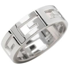 Gucci White Gold Logo Ring