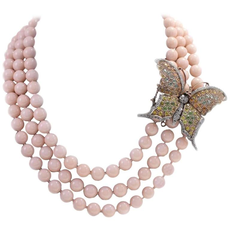 Gold Silver Diamond Sapphie Stone Beaded Necklace
