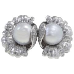 Luise Platinum Diamond Australian Pearl Earrings