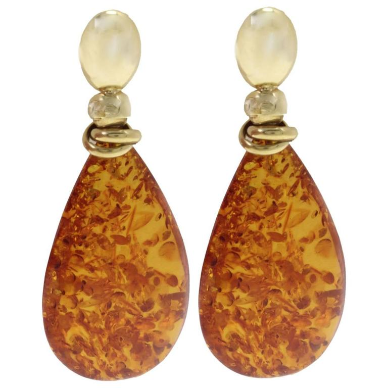 18 Kt Gold Amber Drop Earring For