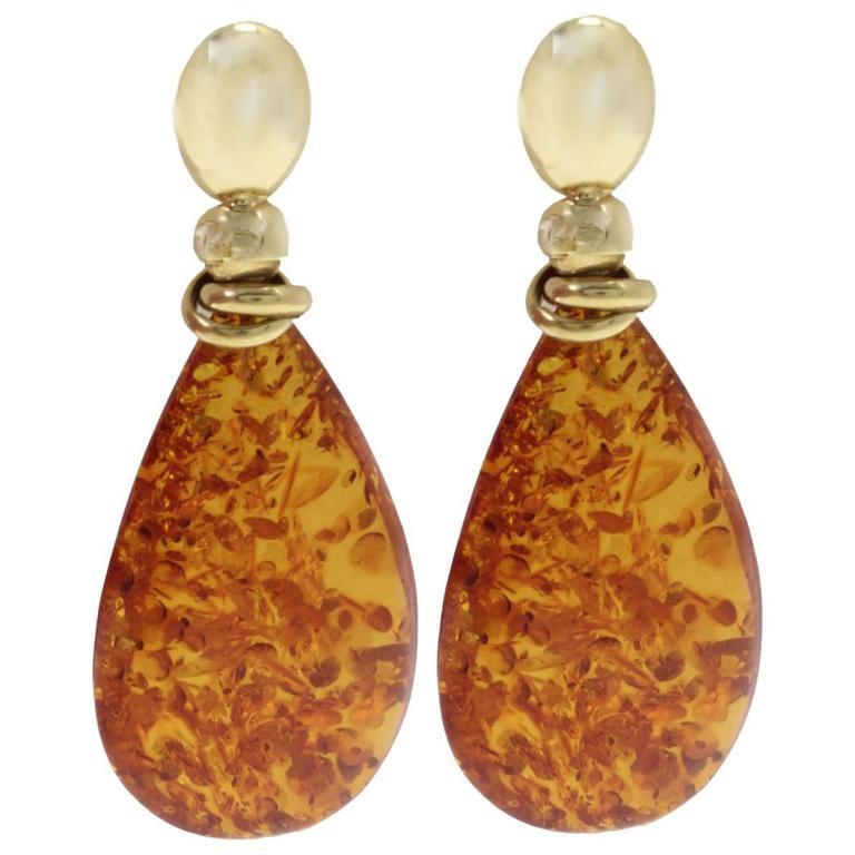 18 kt Gold Amber Drop Earring