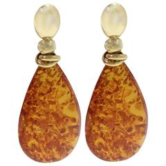 18 kt Gold Amber Drop Earring