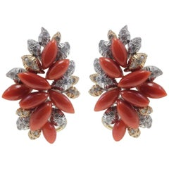 Diamonds, Red Coral Drops, White and Rose Gold Clip-on Retrò Earrings