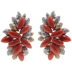 Luise Coral Diamond Gold Earrings