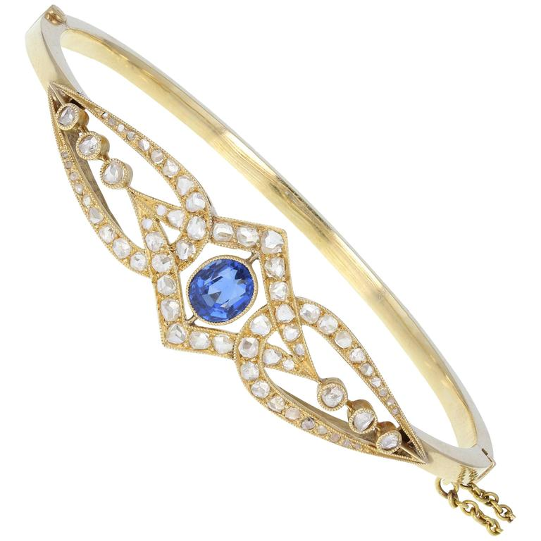 Antique Victorian Blue Sapphire Rose-Cut Diamond Yellow Gold Bangle Bracelet