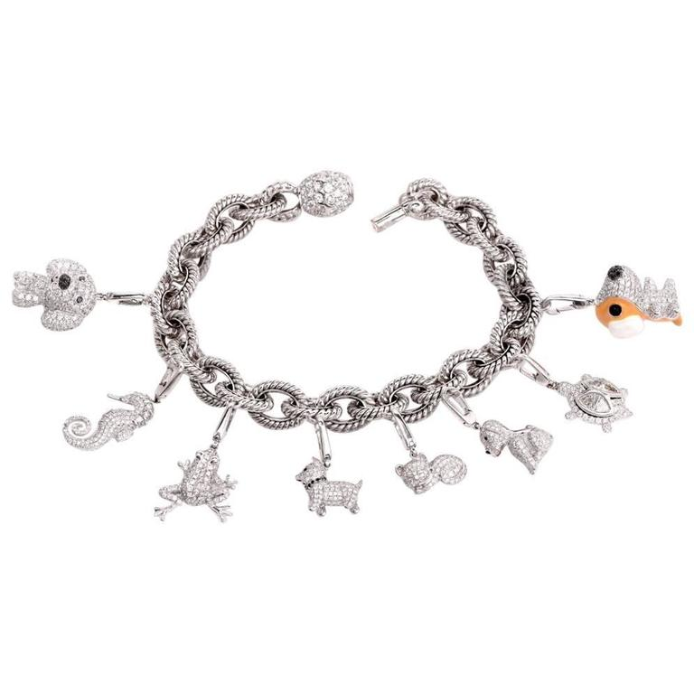 Collectible 7 50 Carat Diamonds Animal Charms Gold Bracelet For