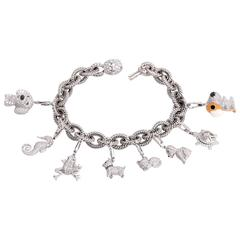 Collectible 7.50 Carats Diamonds Animal Charms Gold Bracelet