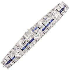 Antique Art Deco Diamond Sapphire Platinum Line Bracelet