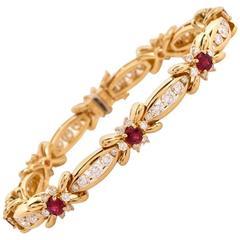 Kurt Wayne Ruby Diamond Gold Link Bracelet