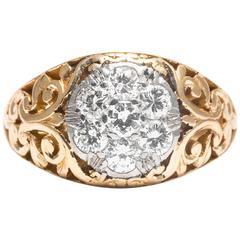 Art Nouveau Diamond Gold Platinum Scroll Work Cluster Ring