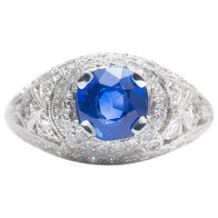 Hand Engraved 2.15 Carat Sapphire Diamond Platinum Ring