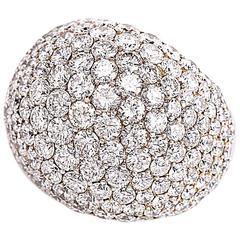 8.34 Carat Pave Diamond Platinum Bombé Dome Cocktail Ring