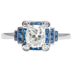 Stepped French Cut Sapphire Diamond Platinum Engagement Ring