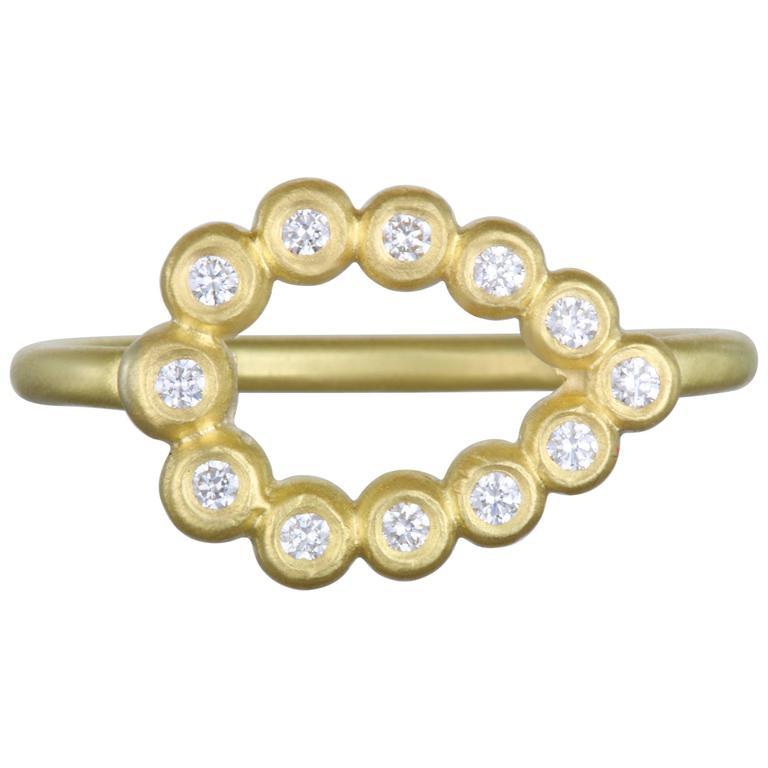Faye Kim Diamond Gold Tear Drop Ring