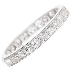 Art Deco Hand Engraved 1 Carat Diamond Platinum Eternity Band Ring