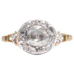18th Century Georgian Rose Cut Diamond Yellow Gold Engagement Ring