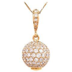 1980s Globe Diamond Yellow Gold Pendant Enhancer