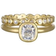 Faye Kim Cushion Cut Diamond Engagement and Eternity Band Ring