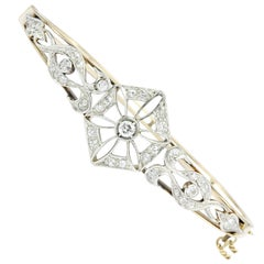 Art Deco Yellow Gold European Cut Diamond Bangle Bracelet, circa 1920