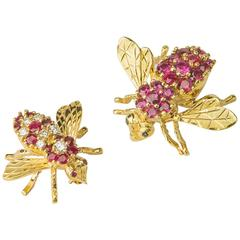Herbert Rosenthal Ruby Diamond Gold Bee Pins