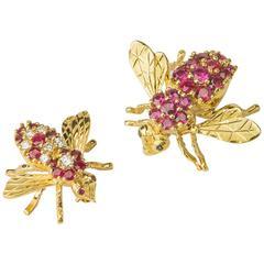 Herbert Rosenthal Ruby Diamond Gold Bee Pins