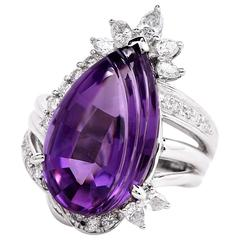 21st Century Pear Cabochon Amethyst Diamond Cocktail Ring