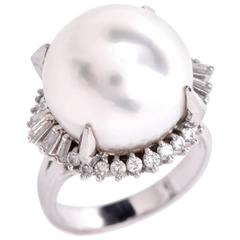 Large AAA South Sea Pearl Diamond Platinum Cocktail Ring