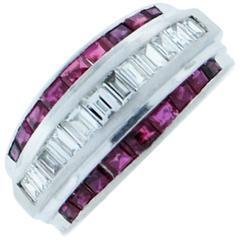 Ruby Diamond Platinum Band Ring
