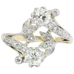 Edwardian Old Mine Diamond Yellow Gold and Platinum Floral Motif Ring