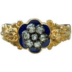 Antique Georgian Blue Enamel and Diamond Ring