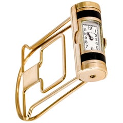 Cartier Yellow Gold Enamel Money Clip with Built-In Mechanical Watch