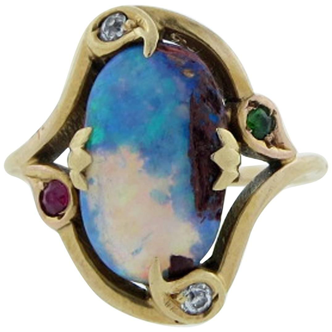 Antique Arts Crafts Boulder Opal Ring