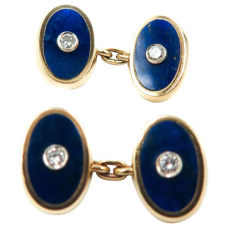 18 Karat Lapis and Diamond Cartier Cufflinks For Sale