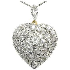 Edwardian Old European Cut Diamond Gold Platinum Heart Pendant