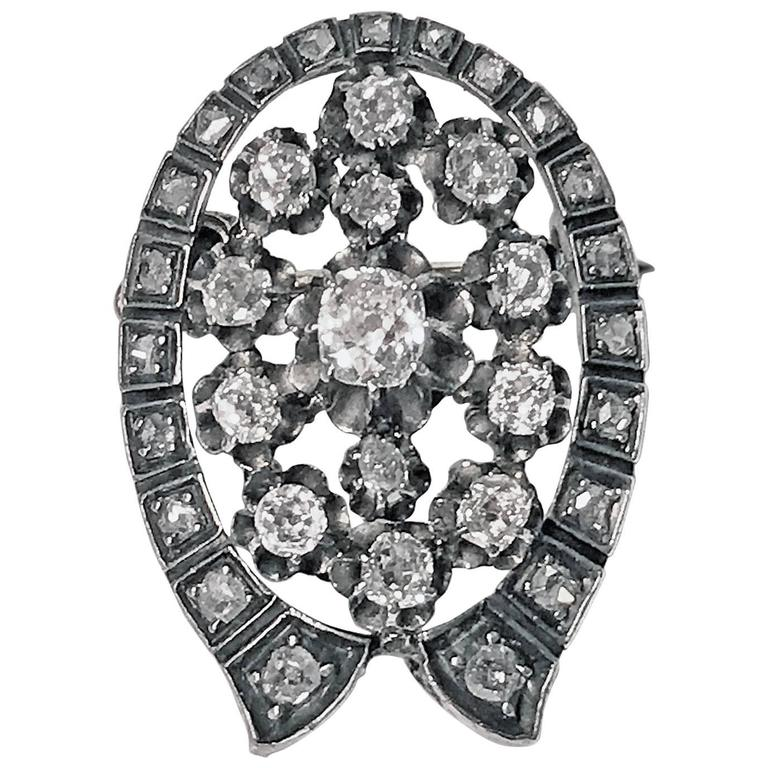 French 19th Century Diamond  Brooch Pendant, circa 1870