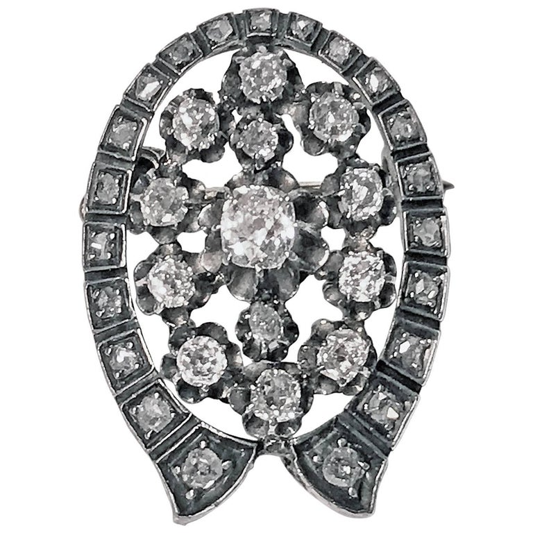 French 19th Century Diamond  Brooch Pendant, circa 1870 For Sale