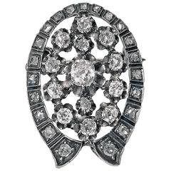 French 19th Century Diamond Silver Gold Brooch Pendant, circa 1870