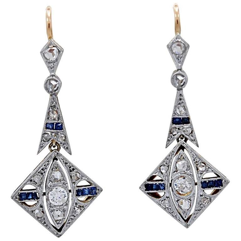 .70 Carat Diamond .25 Carat Sapphire Platinum Gold Dangle Earrings For Sale