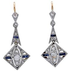 .70 Carat Diamond .25 Carat Sapphire Platinum Gold Dangle Earrings