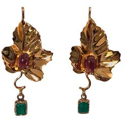 20th Century Garnet Emerald Gold Leaf Drop Earrings